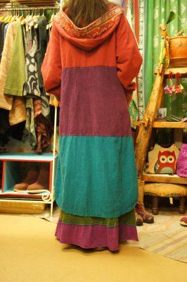 エスニックな織り生地ロングコート