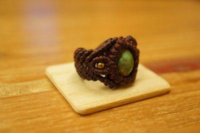 SaligRamaオリジナル☆マクラメ編みイランターコイズリング