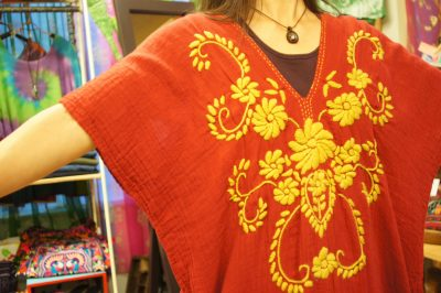 手刺繍ダブルガーゼボヘミアンワンピース