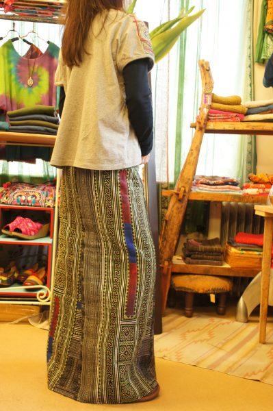 モン族古布リメイクマーメイドラップスカート
