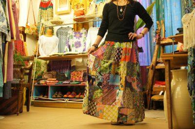 インドパッチワークロングスカート