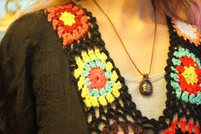 かぎ編みモチーフロングワンピース